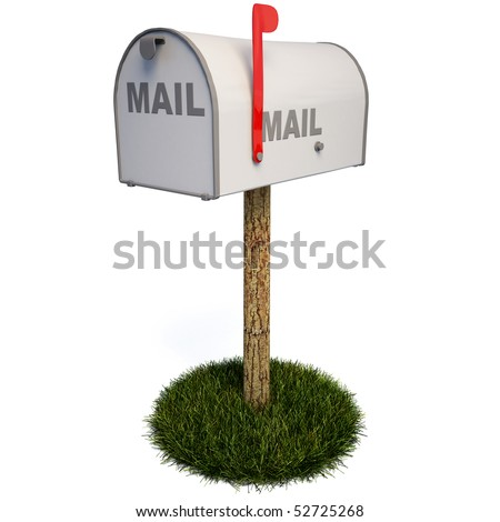 Closed mailbox with a raised flag. with clipping path. - stock photo