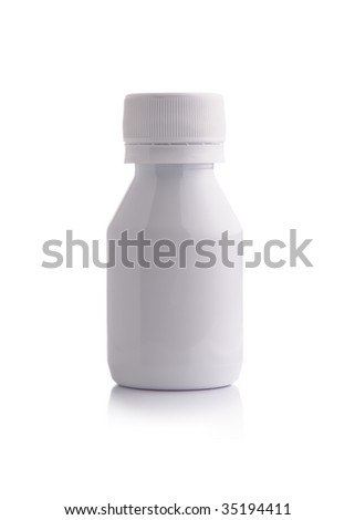 Closed medium size white plastic medicine bottle over white background - stock photo