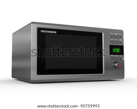 Closed metallic microwave on white background. 3d - stock photo