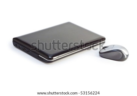 Closed net-book with optical mouse - stock photo