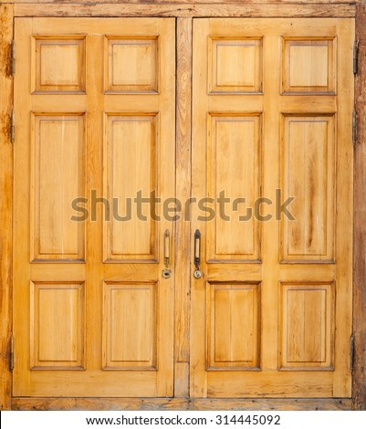 Closed old wooden door, classical architecture background texture - stock photo