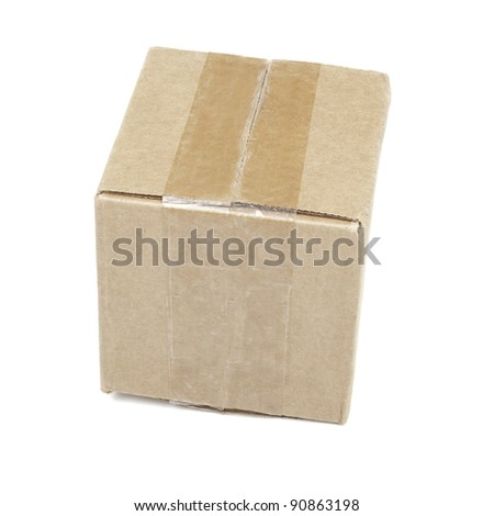 Closed package box isolated on white background