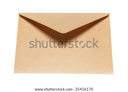 Closed paper envelope isolated on white background