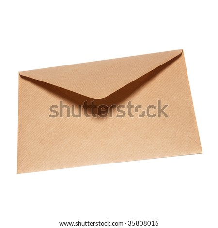 Closed paper envelope isolated on white background - stock photo