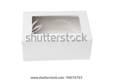 Closed Paper Gift Box with Transparent Top on White Background - stock photo