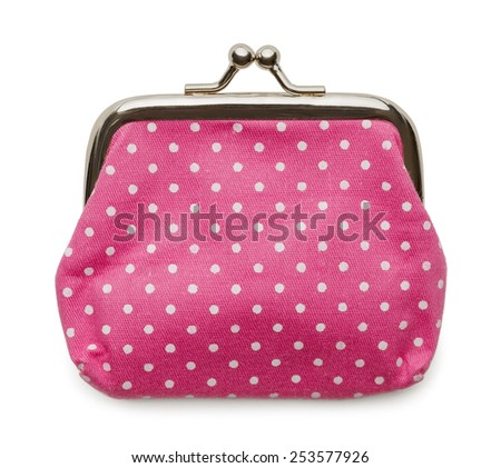 Closed Pink Change Purse Isolated on White Background.