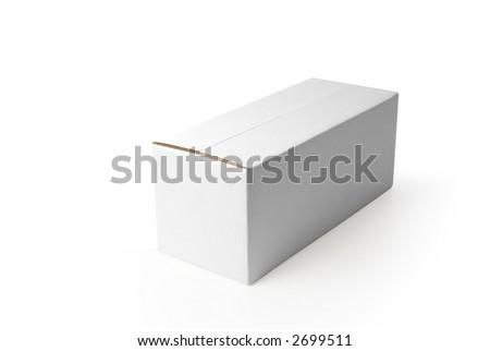 closed rectangular blank isolated box on white background - stock photo