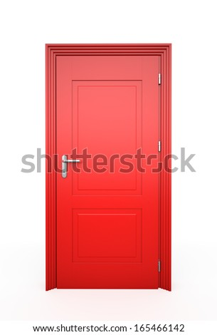 Closed Red Door, Isolated on white  - stock photo