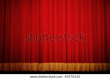 closed red theater curtain - stock photo