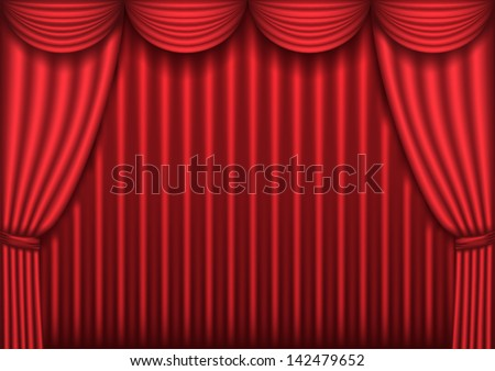 Closed red theater curtain, raster version - stock photo