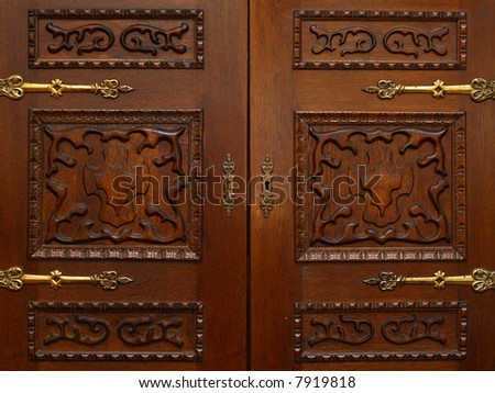 closed shut wood doors old victorian style - stock photo