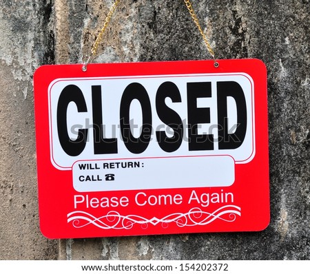 Closed Sign - stock photo