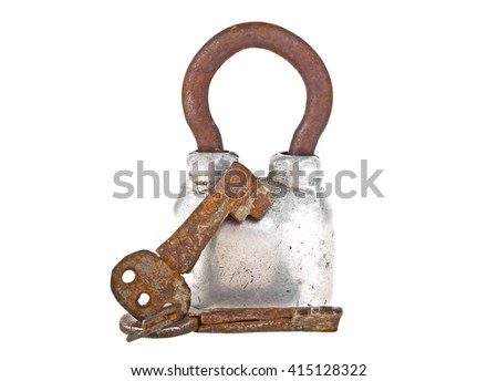 Closed steel padlock and old keys isolated on a white background - stock photo