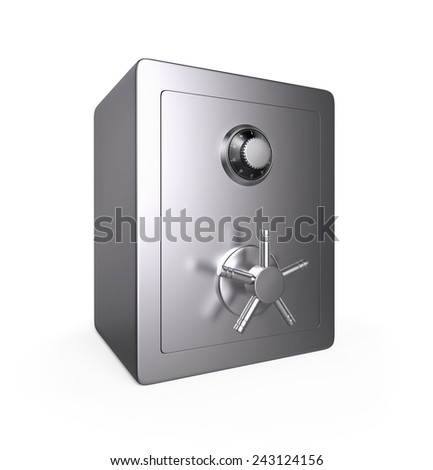Closed Steel Safe , Isolated on white , 3d render