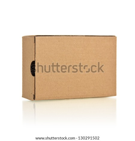 Closed the brown box on a white background - stock photo