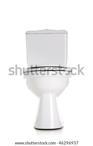 closed toilet, front view, isolated on white - stock photo