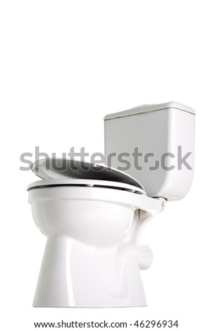 closed toilet, isolated on white - stock photo