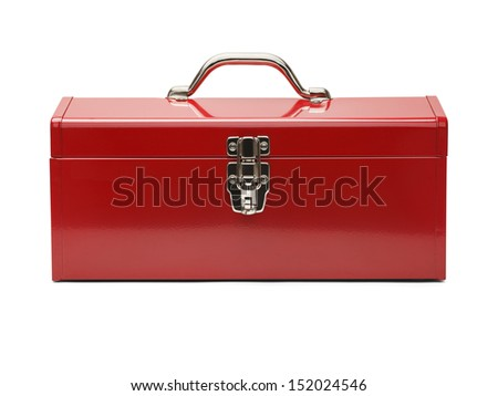 Closed Tool Box Isolated on a White Background. - stock photo