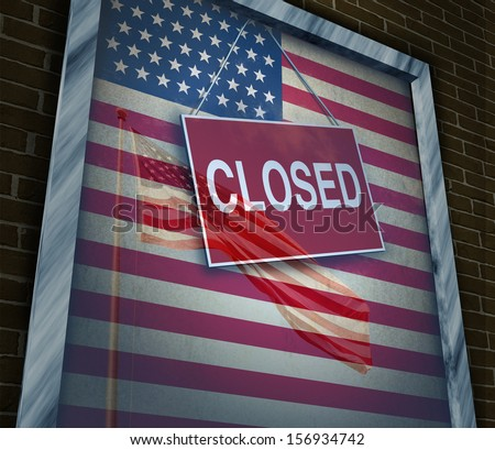 Closed United States of America concept as a metaphor for US government shutdown or failed American business and strict immigration policy as a store window sign with a reflection of a flag on glass. - stock photo