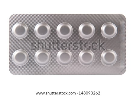 Closed up aluminum blister pack on white background