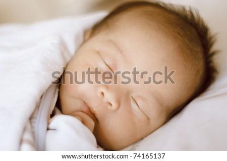 Closed Up Baby Sleeping - stock photo