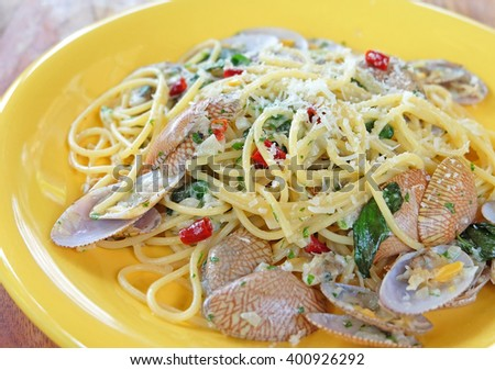 Closed up cropped spaghetti alle Vongole. Pasta seafood with clams sauce - stock photo