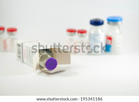 Closed up injection vial in box show medicine concept - stock photo