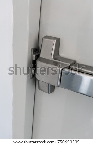 Closed Latch Door Handle Emergency Exit Stock Photo