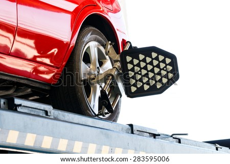 Closed up of car wheel test - stock photo