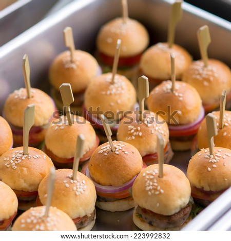 closed up of mini burger - stock photo