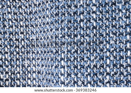 Closed up Texture/Pattern of Essex Yarn Dyed Linen Cotton Blend Fabric - Nautical (Dark Blue and White Twill) - stock photo