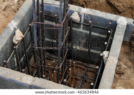 closed up top views steel bars reinforcement concrete column and foundation
