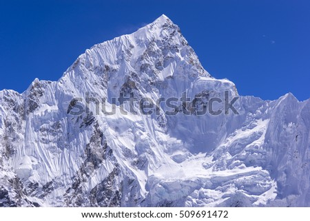 closed up view of Lhotse peak from Gorak Shep. During the way to Everest base camp. Sagarmatha national park. Nepal.