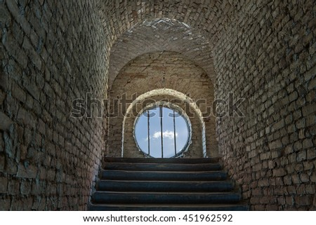 Closed way at the end of a tunnel in a prisoner thinking concept. - stock photo