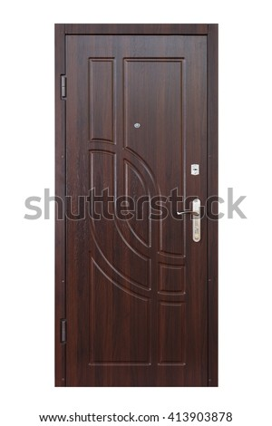 Closed Wenge Wooden Door Isolated At White Background. Image Of A Closed  Door. Entrance