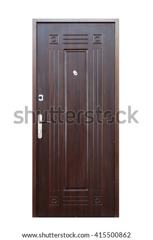Closed wenge wooden door isolated at white background. Image of a closed door. Entrance to apartment. Dark brown wood, designed and textured front door with lock and handle. Modern Door design.  - stock photo