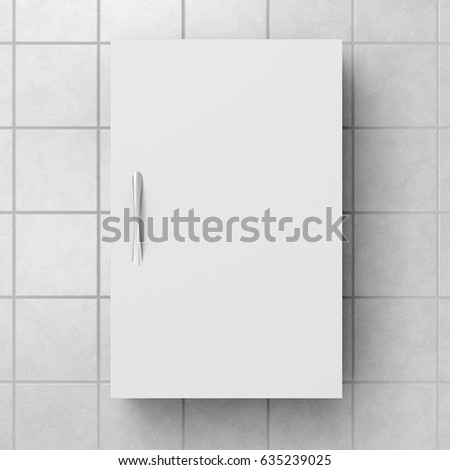 closed white bathroom cabinet isolated on white tiled wall with clipping path 3d