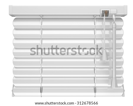 Closed white blinds. 3d illustration isolated on a white background. - stock photo