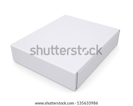 Closed white box. Isolated render on a white background - stock photo