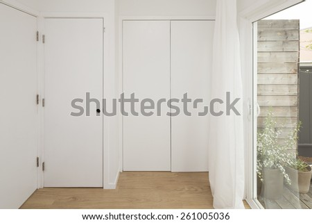 Closed white closet.  - stock photo