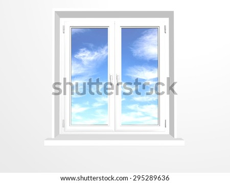 Closed window and clouds on blue sky. Isolated on white background