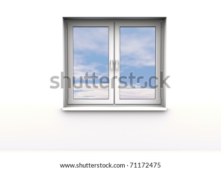 closed window, sky background