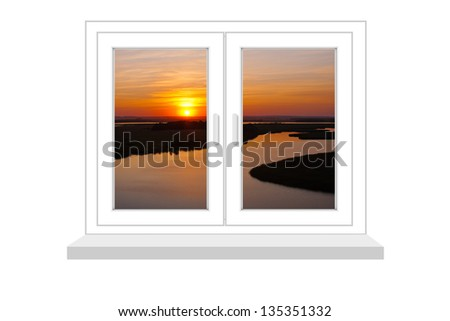 closed window with a kind on sunset on a white background.