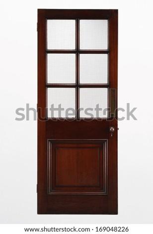 Closed wood door isolated  - stock photo