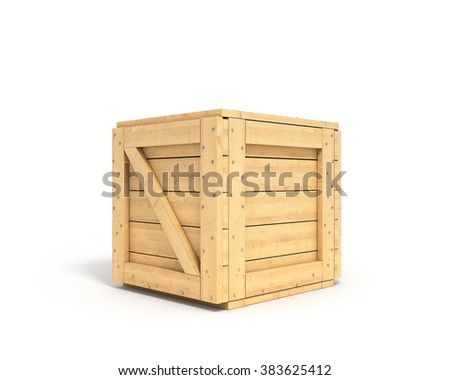 closed wooden box isolated on white background - stock photo
