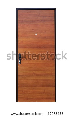 Closed wooden door isolated at white background. Image of a closed door. Entrance to apartment. Brown wood veneer front door for office, with lock and handle. Modern Door design.  - stock photo