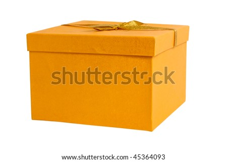 closed yellow gift box isolated on white background