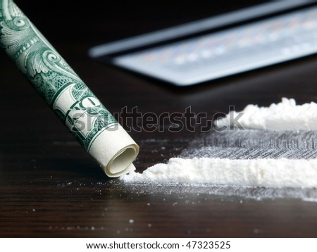 Closer look to one bad habit such as drug addiction on cocaine... - stock photo