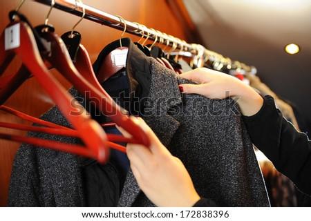 Closet. issuance of clothing - stock photo