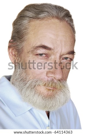 closeup adult old man with gray hair smiles